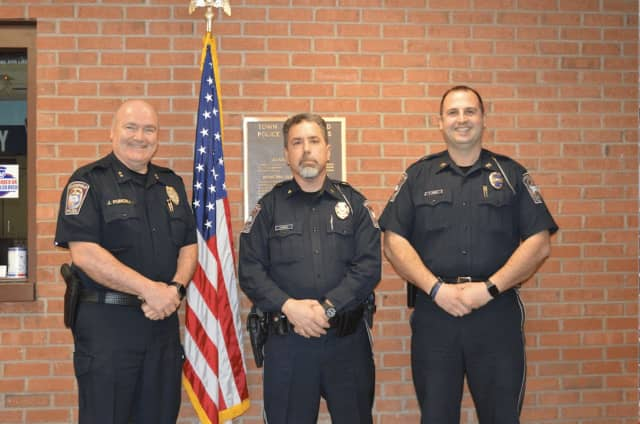 From left, new Brookfield Police Chief James Purcell, Major John Puglisi, and Captain Peter Frengs
