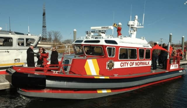 The Norwalk Fire Department Marine Unit rushed to respond to an oysterman experiencing a medical crisis Monday on Long Island Sound.