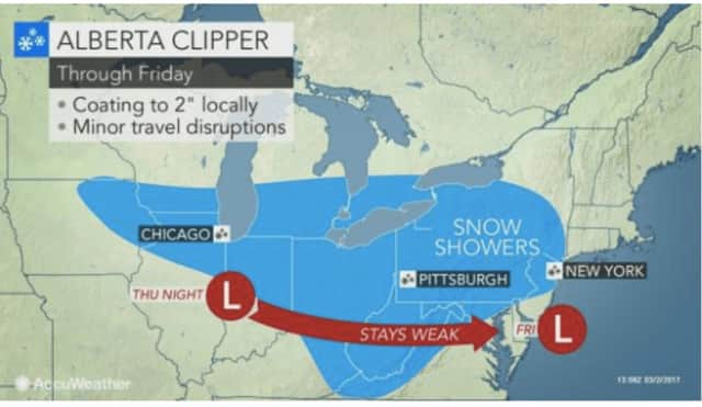 A look at the Alberta Clipper that will sweep through the area Friday afternoon through the early evening.