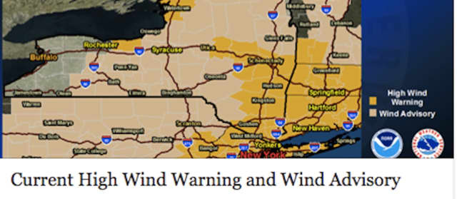 A High Wind Warning issued by the National Weather Service is in effect until 11 a.m. with gusts up to 60 miles per hour possible.