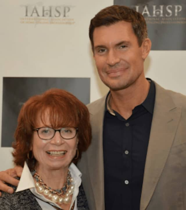 "Home Stager Claire Flower of Harrison with Home Staging TV Star Jeff Lewis from Bravo's ""Flipping Out"" at the recent International Association of Home Staging Professionals Conference in Florida."
