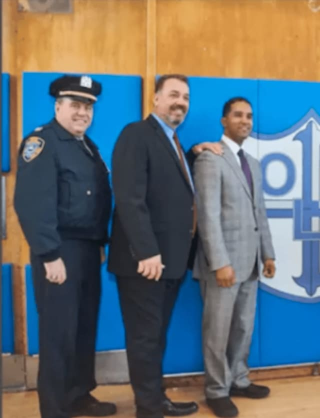Mount Vernon Mayor Richard Thomas, pictured with former Police Commissioner Ronald Fatigate (second from left)
