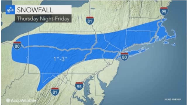 The storm late Thursday into Friday morning will affect Connecticut and the New York Metro region.