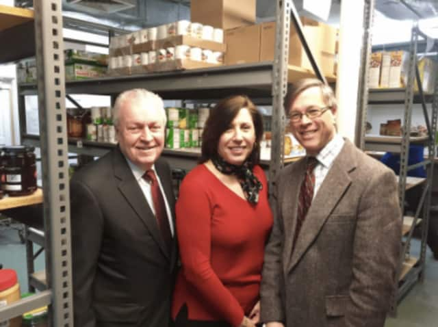 Donations for the Operation Hope food pantry will be collected March 13-31. First Selectman Michael Tetreau, Operation Hope Executive Director Carla Miklos and Economic Development Director Mark Barnhart ask residents to support this food drive.