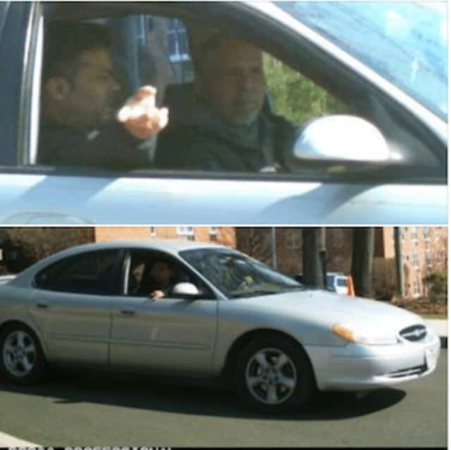The two suspects in a car burglary and the vehicle they were driving in are pictured in photos released by police.