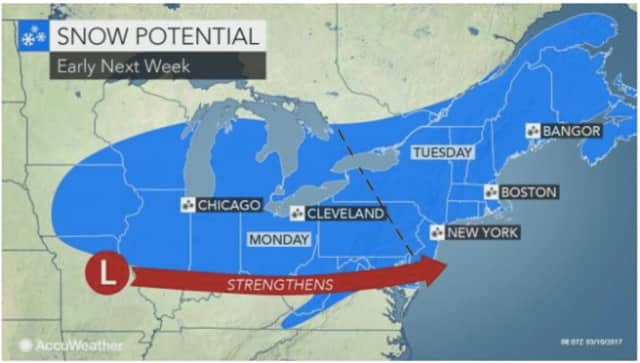 A look at the Nor'easter expected to hit the area Tuesday, March 14 into Wednesday, March 15.