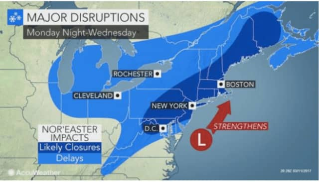 Major disruptions are expected as a result of the Nor'easter headed to Bergen and Passaic counties.