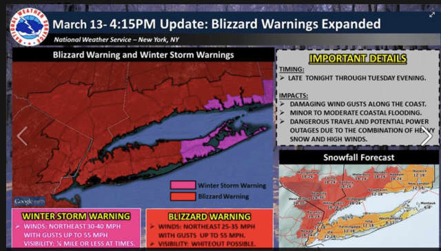 Blizzard Warnings were expanded to include Bergen and Passaic counties.