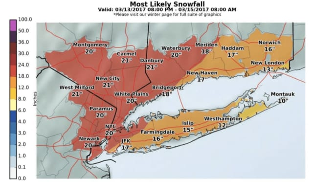 New snowfall projections from the National Weather Service say parts of the area could get 21 inches of accumulation.