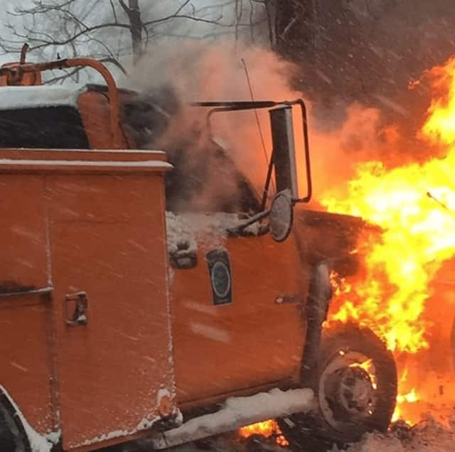 A Cortlandt DPW snow plow caught fire on Tuesday morning.