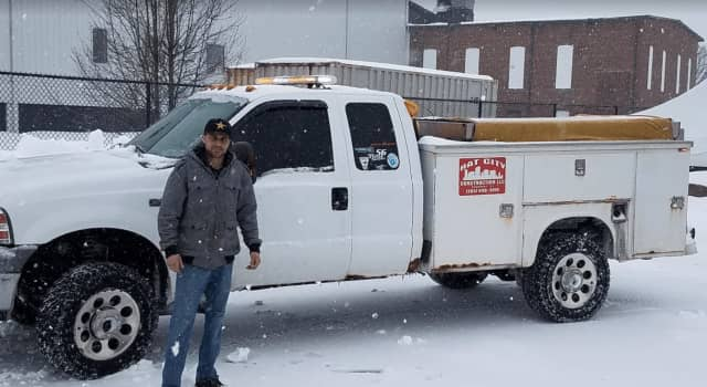 Joe Doceti, owner of Hat City Construction in New Fairfield, has been outside in the blizzard plowing since 5:30 a.m. Tuesday.