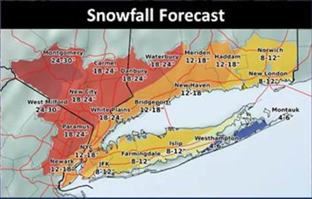 Latest snowfall projections released Tuesday morning by the National Weather Service. That's 12 to 18 inches along Fairfield County's shoreline, and 18 to 24 inches in interior Connecticut.