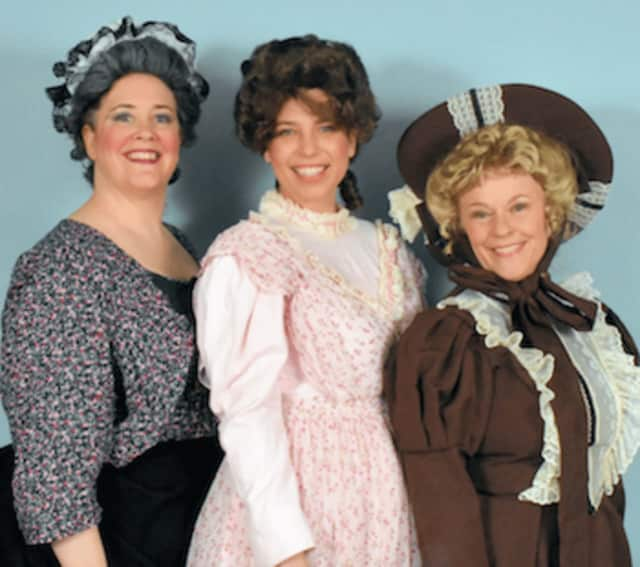 Wendy Falconer of Stamford is Little Buttercup in the upcoming Troupers Light Opera production of HMS Pinafore at Wall Street Theatre in Norwalk. Joining her are Brett Kroeger of Riverside (center), as Josephine) and Suzanne Rossini as Cousin Hebe.