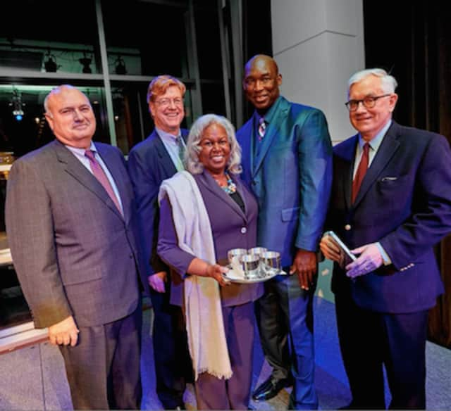 Left to right: From left to right: Stephen E. Goldman, Brian E. Moran, Sharon Robinson; Daryl McGraw; and Edward V. O'Hanlan.