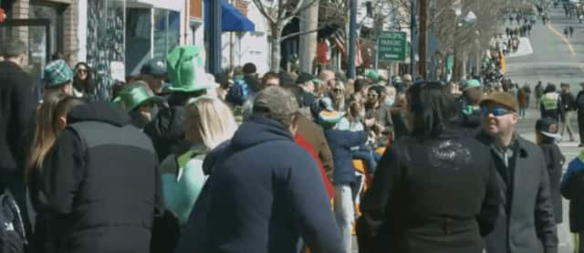 Thousands of residents and visitors fill the streets of Pearl River for the annual St. Patrick's Day parade.