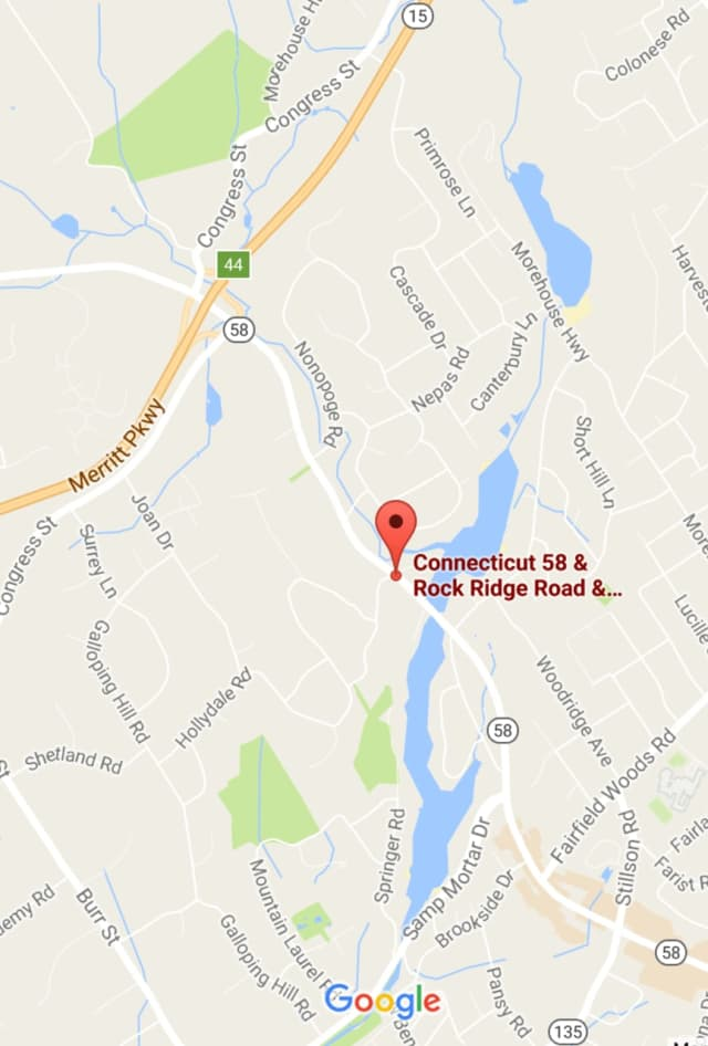 Black Rock Turnpike/Route 58 is closed in both directions at Rock Ridge Road in Fairfield on Monday afternoon.