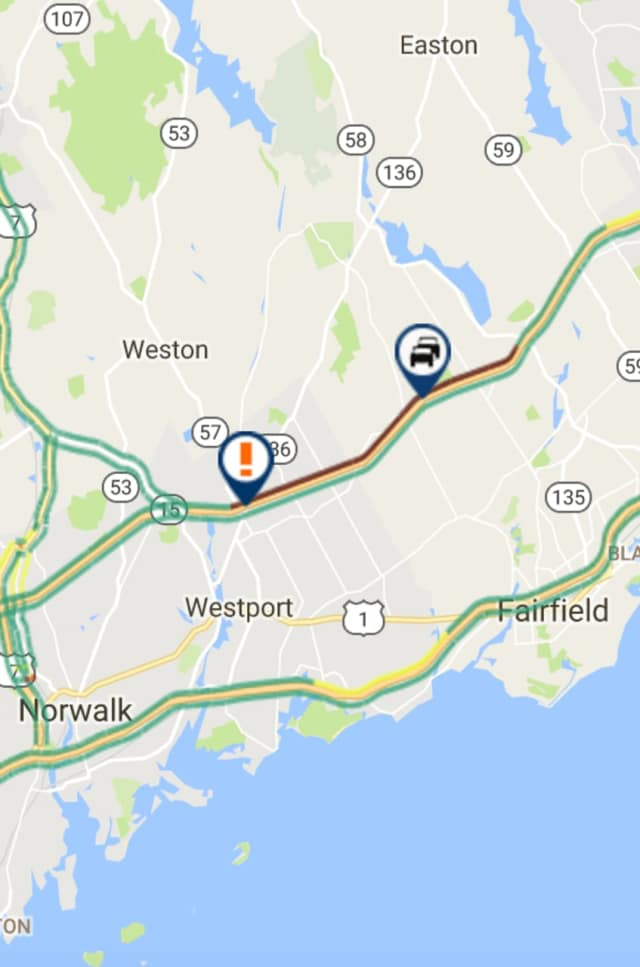 A traffic backup is growing on the Merritt Parkway after a crash Thursday morning.