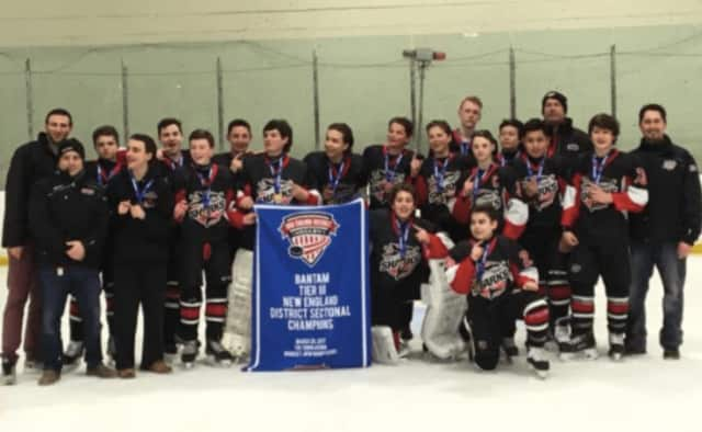 The Stamford Sharks Bantam A team ended their season in style this past weekend by winning the New England District Sectional Tournament