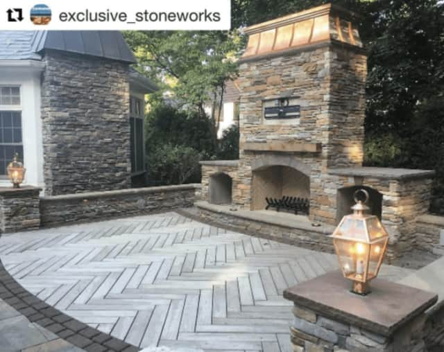 An outdoor fireplace in Ridgewood built by a Lyndhurst-based company is being shared on social media accounts across the world.