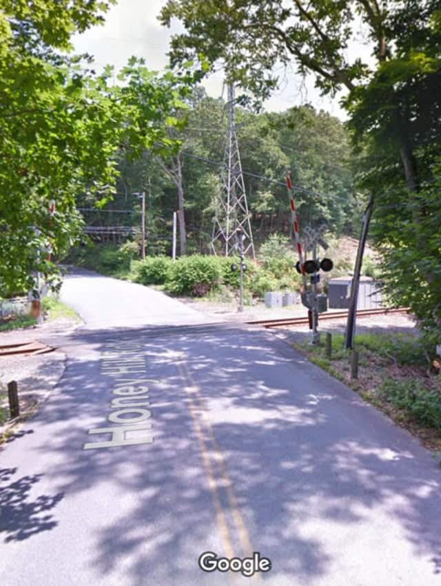 The rail crossing on Honey Hill Road in Wilton, just off Route 7.