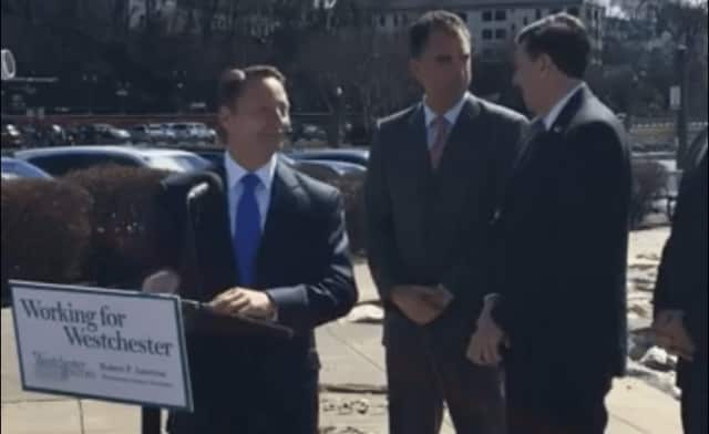 Westchester County Executive Rob Astorino joined by other officials at a press conference at Riverfront Green Park in Peekskill Wednesday afternoon.