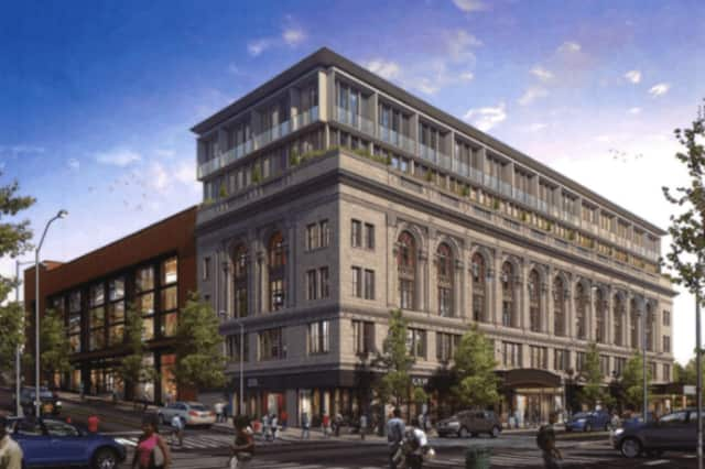 An artist's rendering of the proposed rehabilitation of the Majestic and Poli theaters