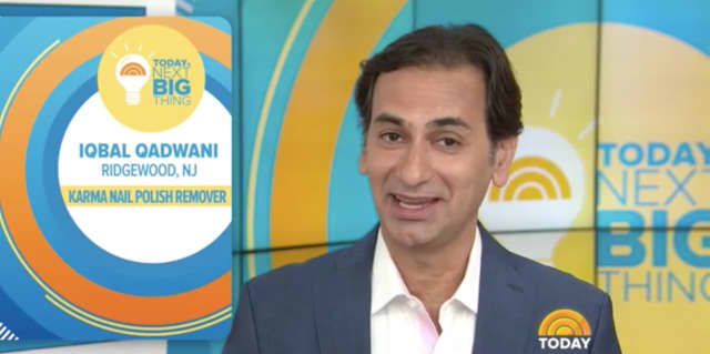 "Iqbal Qadwani of Karma Organic Spa in Ridgewood presents a new nail polish remover on the TODAY Show. If he wins, he will go on to sell the product on ""Saturday Morning Q"" this weekend on QVC."