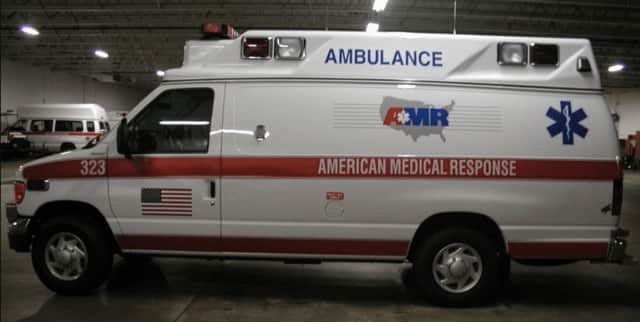 An ambulance from American Medical Response