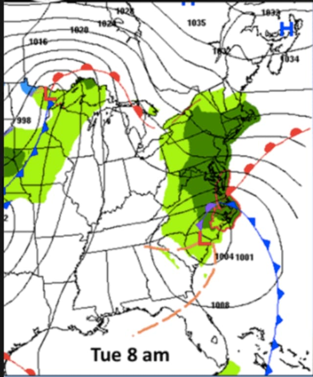 Rain is expected to overspread the Hudson Valley, and much of the East Coast, Tuesday morning.