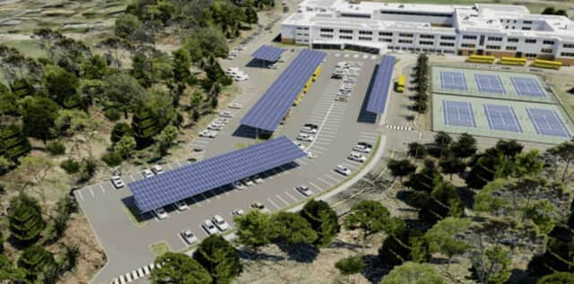 This image shows how solar carports would look at Fairfield Ludlowe High School.