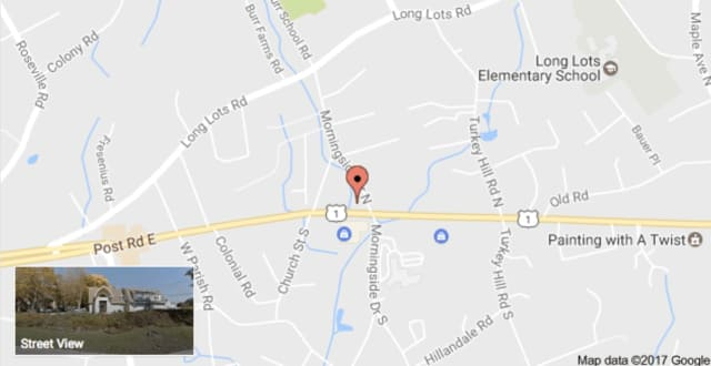 Route 1 in Westport is closed Friday evening due to a crash near Morningside Drive South.