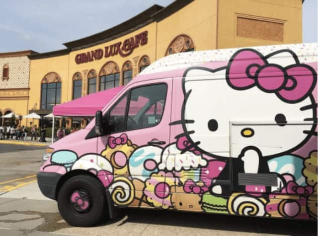 Hello Kitty Cafe food truck stops at the Garden State Plaza.