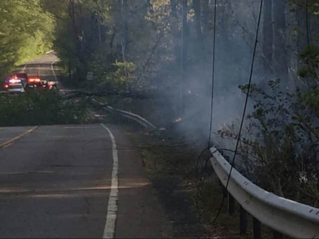 A stretch of Route 202 in Ramapo is closed early Tuesday evening after a downed tree brought down electrical lines, igniting a fire.