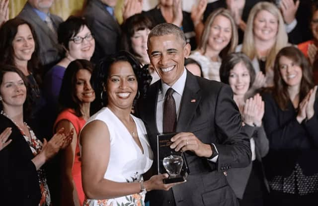 Former President Barack Obama presented Connecticut teacher Jahana Hayes with the 2016 National Teacher of the Year award.