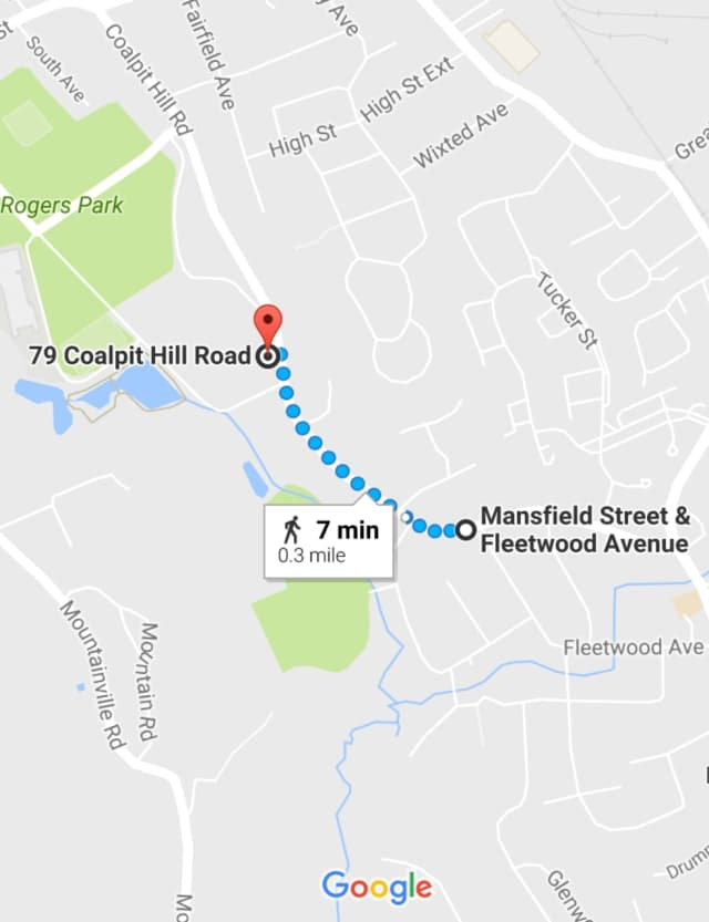 The crash occurred at 79 Coalpit Hill Road, less than a half-mile from where the police pursuit began.