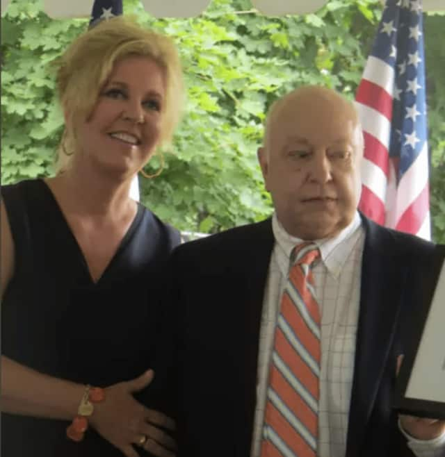 "Elizabeth ""Beth"" Ailes with her late husband Roger Ailes."