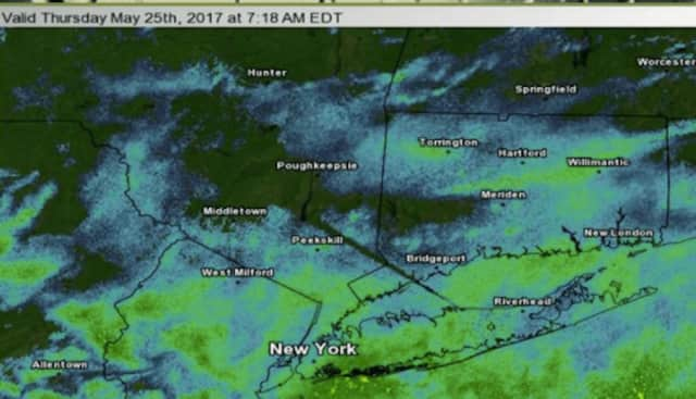 A radar image after rain overspread Dutchess and the area Thursday morning.