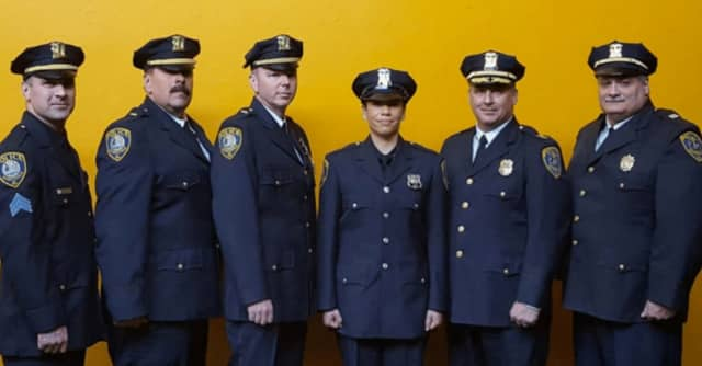 Scarsdale Police Det. Sgt. James Newman, Lt. Joseph Dusavage, Det. Lt. Edward Murphy, Officer Victoria Wanderman, Chief Andrew Matturro and Capt. Thomas Altizio.