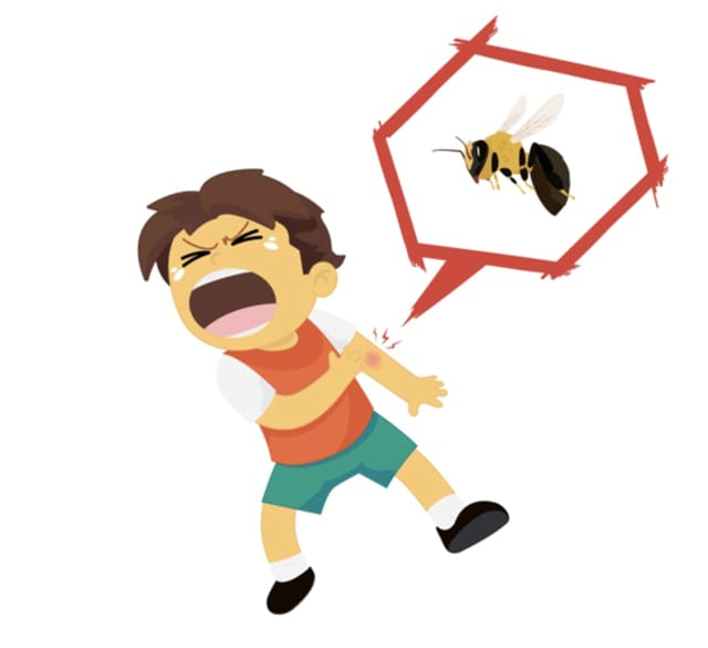 Not all bee stings are dangerous. In fact, only a small percentage of children develop dangerous side effects when stung by a bee.
