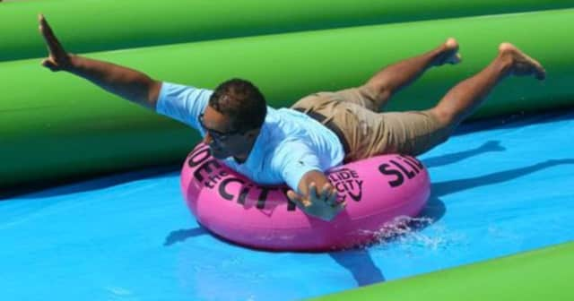 "Mount Vernon Mayor Richard Thomas as last year's ""Slide the City"" event."