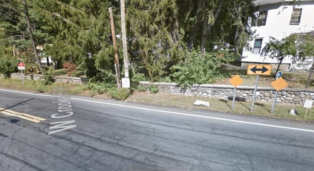 A Suffern man was charged with DWI after failing to obey a stop sign and hitting a stone wall.