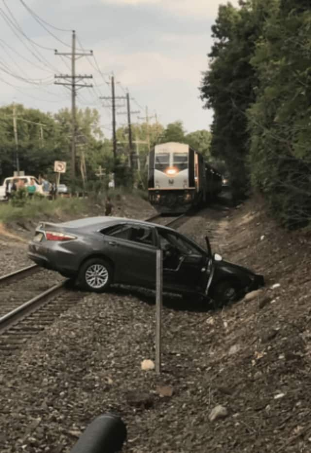 A Toyota swerved onto the Pascack Valley Line railroad tracks in Westwood moments before a train came.