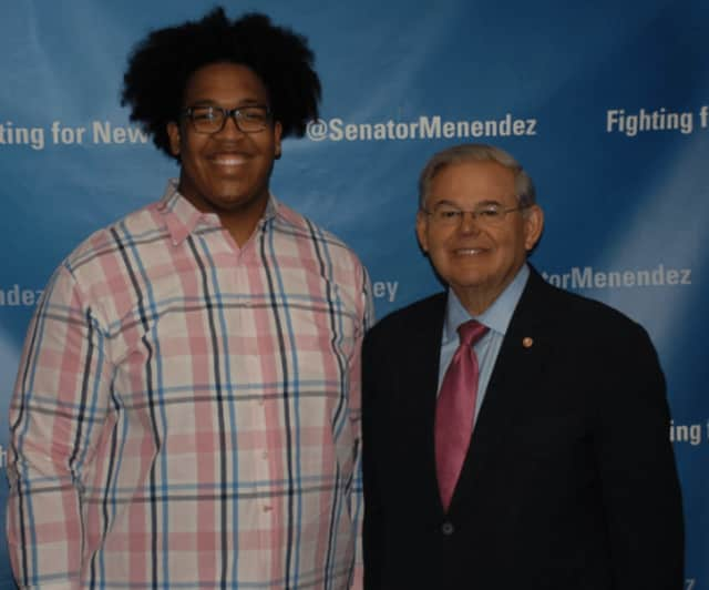 Christian Pearson of Teaneck and U.S. Senator Bob Menendez.