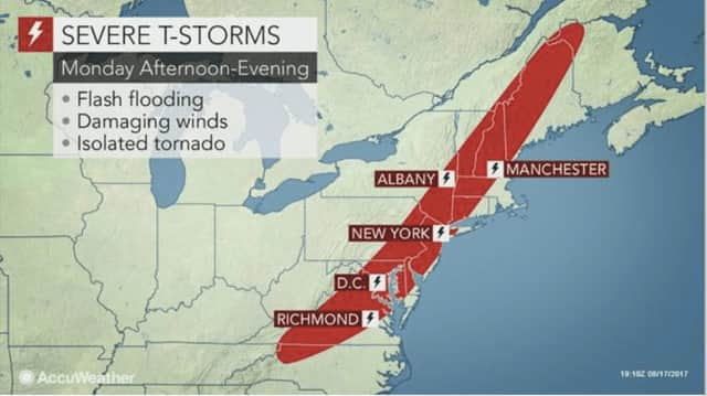 A line of severe storms could bring flash flooding, damaging winds and an isolated tornado on Monday.