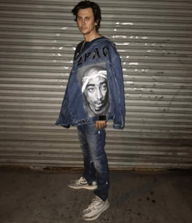 Jonathan Cheban models a denim jacket in Fort Lee.