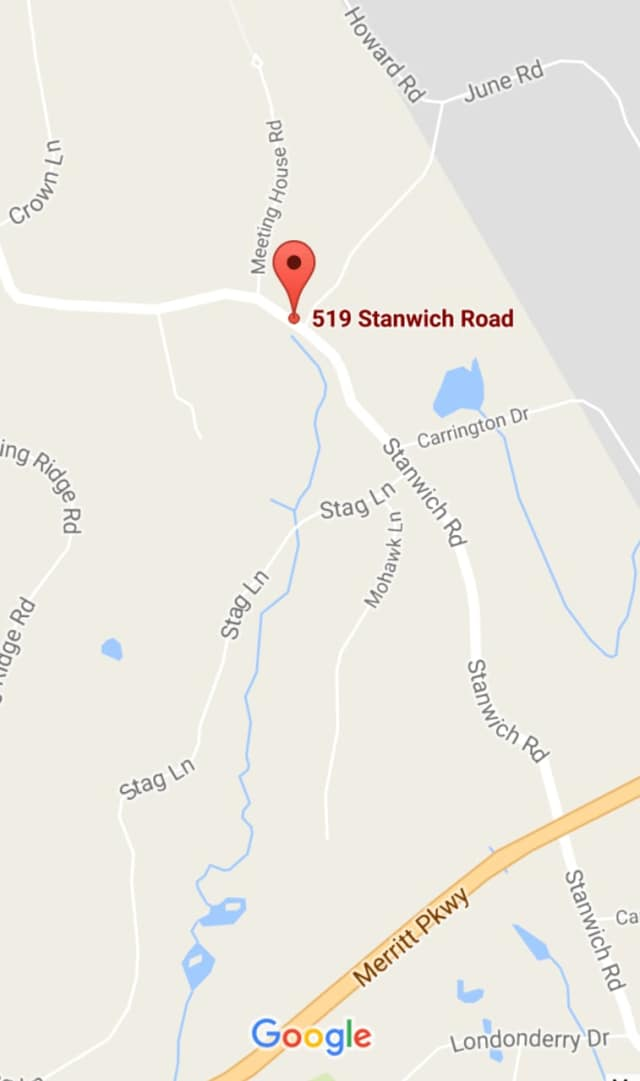 Stanwich Road in Greenwich is closed near Tod Lane on Monday afternoon.