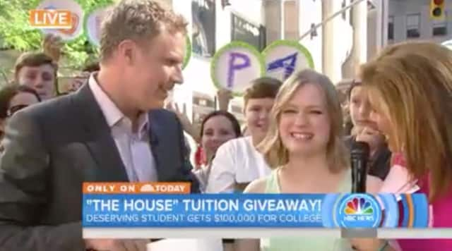 Samantha Watts of Ridgefield is awarded a $100,000 college scholarship on the 'Today' show by Hota Kotb and Will Farrell.