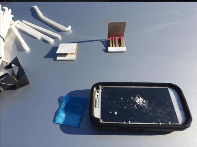 A look at the cell phone with cocaine in a photo released by Ramapo Police.
