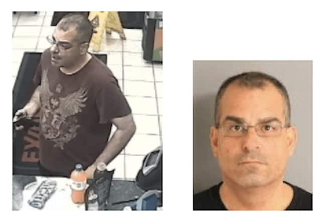 John A. Fraioli, left, in a photo state police on Friday asking for the public's help in the case, and, at right, after his arrest.