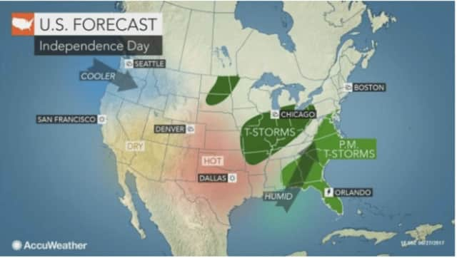 A look at the weather pattern expected for Tuesday, July 4.
